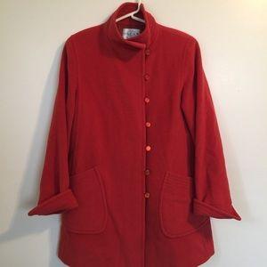 Vintage Oscar De la  Renta red wool/ angora coat